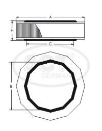 Фильтр воздушный (SB2058) ВАЗ, DACIA, RENAULT SCT