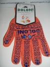 Перчатки трикотажные с ПВХ - рисунком оранжевые с синей точкой 1 пара DOLONI